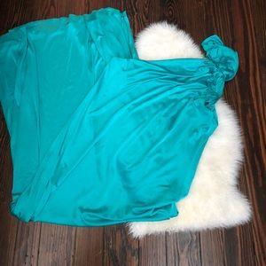 Halston Heritage- teal one shoulder gown